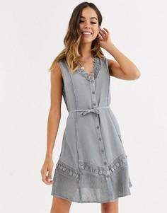 Голубое платье с ажурной отделкой Brave Soul-Синий