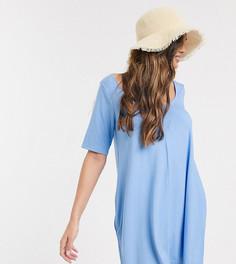 Голубое платье-футболка из шамбре со скрытыми карманами ASOS DESIGN Petite-Синий