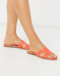 Оранжевые сандалии-слипоны на плоской подошве Dune-Оранжевый