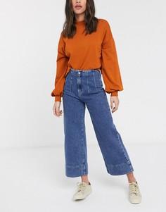 Синие широкие джинсы до щиколотки с завышенной талией Selected Femme-Синий