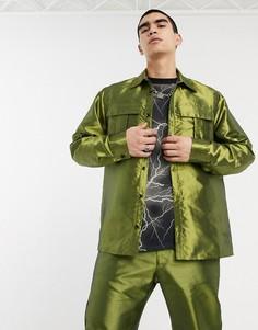 Зеленая рубашка в стиле милитари с длинными рукавами Milk It-Зеленый