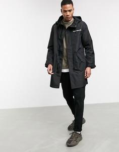 Черная легкая куртка с принтом на спине Bershka-Черный