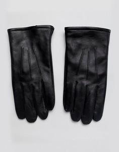 Черные кожаные перчатки для сенсорных экранов ASOS DESIGN-Черный