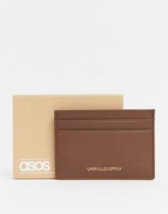 Коричневый кожаный бумажник для карт с тиснением логотипа ASOS DESIGN