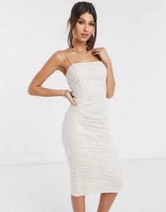 Платье миди в горошек со сборками Rare London-Кремовый