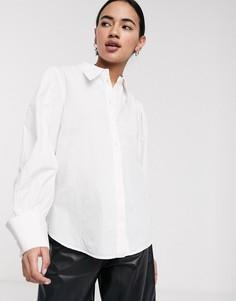 Белая рубашка с широкими манжетами Selected Femme-Белый