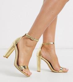 Золотистые босоножки металлик с эффектом змеиной кожи Glamorous Wide Fit-Золотой