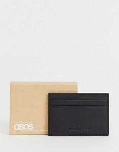 Черный кожаный бумажник для карт с тиснением логотипа ASOS DESIGN