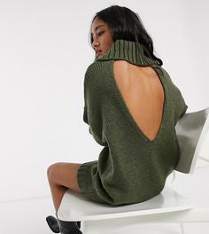 Вязаное платье мини с высоким воротником и открытой спиной ASOS DESIGN Petite-Зеленый