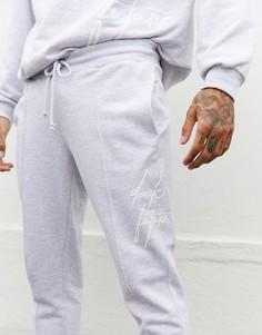 Серые джоггеры скинни от комплекта с вышитым логотипом ASOS DESIGN x Dark Future-Белый