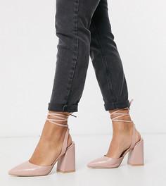 Светло-розовые туфли на каблуке с крокодиловым рисунком и завязками для широкой стопы RAID-Розовый