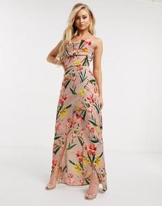 Платье макси со свободным воротом и цветочным принтом розового цвета Girl In Mind-Мульти