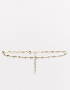 Золотистое ожерелье-чокер с цепочкой из крестов Topshop-Золотой