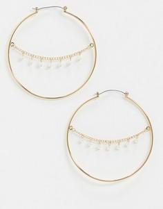 Золотистые серьги-кольца с цепочкой и искусственным жемчугом Topshop-Золотой