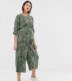 Комбинезон со звериным принтом и поясом на талии ASOS DESIGN Maternity-Мульти