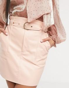 Розовая мини-юбка из искусственной кожи Saint Genies-Розовый