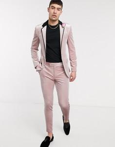 Супероблегающий бархатный смокинг розового цвета ASOS DESIGN wedding-Розовый