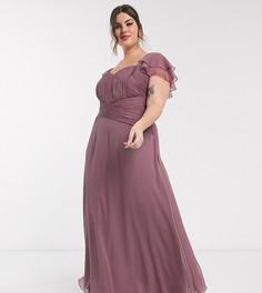 Платье макси с короткими рукавами и сборками ASOS DESIGN Curve Bridesmaid-Фиолетовый