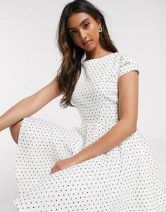 Белое платье в горошек с короткими рукавами Closet London-Белый