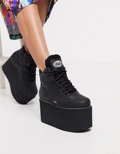 Черные ботинки на массивной платформе со шнуровкой Buffalo-Черный