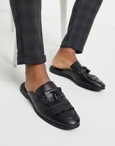 Черные кожаные мюли Feud London-Черный