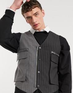 Черный/серый жилет в стиле милитари в тонкую полоску Jaded London
