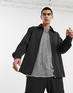 Черная полосатая рубашка в винтажном стиле Milk It-Черный