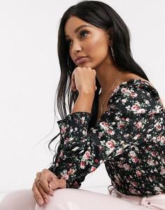 Присборенная блузка с квадратным вырезом и цветочным принтом Missguided-Мульти