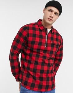Рубашка в клетку с короткой молнией Burton Menswear-Красный