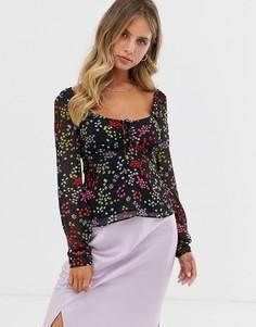 Блузка с цветочным принтом The East Order Jessie Jo-Черный