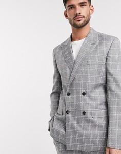 Серый двубортный приталенный пиджак в клетку ASOS DESIGN