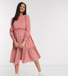 Свободное светло-розовое платье миди ASOS DESIGN Maternity-Розовый
