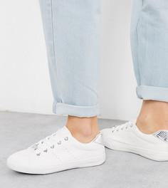 Белые кроссовки с серебристым задником New Look Wide Fit-Белый