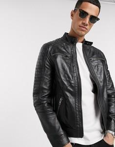 Кожаная байкерская куртка с 4 карманами Barneys Originals-Черный