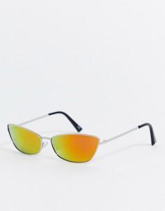 Очки с серебристой металлической оправой и зеркальными стеклами ASOS DESIGN-Серебряный