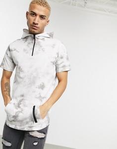 Серая футболка с капюшоном и принтом тай-дай Soul Star-Серый