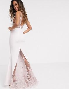 Платье макси с глубоким декольте и юбкой годе Jarlo-Кремовый