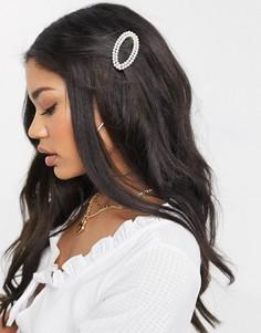 Овальная заколка для волос с искусственным жемчугом South Beach-Кремовый