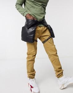 Двойная сумка на пояс из искусственной кожи с ремешками для ног ASOS DESIGN-Черный