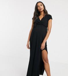 Черное платье макси с запахом и завязкой ASOS DESIGN Maternity-Черный