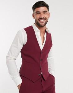 Эластичный супероблегающий пиджак бордового цвета ASOS DESIGN-Красный