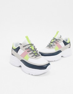 Белые кроссовки на массивной подошве с цветными вставками BLFD Ledel-Белый