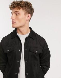 Черная байкерская куртка из искусственной замши New Look-Черный