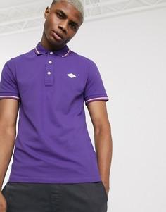 Поло фиолетового цвета с контрастной отделкой и логотипом Replay-Фиолетовый