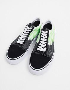 Черные/зеленые кроссовки с принтом пламени Vans Old Skool-Черный
