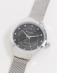 Часы с черным циферблатом и сетчатым браслетом Brave Soul-Черный