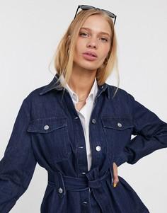 Джинсовая куртка с поясом Selected-Синий