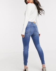 Выбеленные джинсы скинни с завышенной талией Stradivarius-Синий