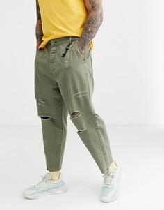Свободные джинсы-морковки цвета хаки Bershka-Зеленый