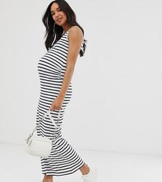 Сине-белое платье макси в полоску из органического хлопка Mamalicious Maternity-Мульти Mama.Licious